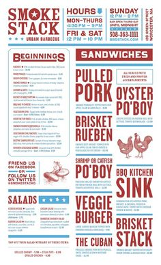 This layout is so interesting. The big type for the menu items is a great way to make things stand out, and the columned style reminds me of a newspaper or trendy magazine. Food Menu Design, Restaurant Menu Design, Restaurant Branding, The Menu, Speisenkarten Designs, Barbecue Restaurant, Restaurant Names, Restaurant Restaurant, Diner Menu