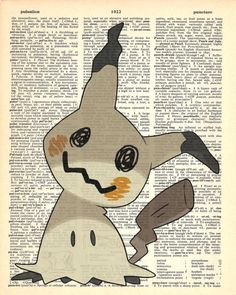 Mimikyu Pokemon Dictionary Art Print by MollyMuffinsPrints on Etsy