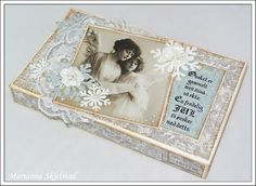 Marianne's media world.: Boxes, etc. Chocolate Card, Shabby Chic Crafts, Altered Boxes, Vintage Box, Craft Box, 3d Projects, Christmas Cards, Paper Crafts, Handmade Gifts
