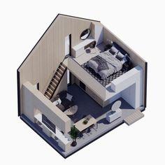 Modern Tiny House, Small House Design, Micro House Plans, Small Loft Apartments, Small Villa, Hut House, Micro Apartment, Model House Plan, Loft Interiors