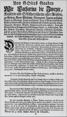 Manifesto of Catherine, The Great