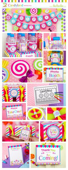Candyland Birthday Party Package Collection Set Mega Personalized Printable // Candyland - coloring page and photo booth 3rd Birthday Parties, Birthday Fun, Birthday Party Invitations, Birthday Ideas, Candyland, Candy Themed Party, Partys, First Birthdays, Party Time