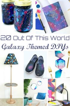 Are you loving the galaxy theme? Make these fun galaxy themed diys! There are 20 out of this world ideas! Cute Kids Crafts, Diy Crafts For Adults, Crafts For Girls, Crafts To Make, Easy Crafts, Galaxy Decor, Galaxy Theme, Diy Craft Projects, Craft Tutorials