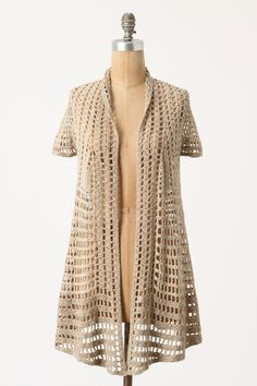 Cutout Gridline Cardigan - Anthropologie.com