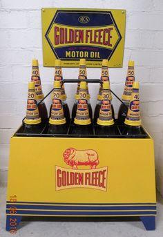 A Golden Fleece service station motor oil bottle rack with 6 pint and 6 Quart bottles Bottle Rack, Oil Bottle, Australian Cars, Gas Pumps, Pedal Cars, Vintage Motorcycles, Oil And Gas, Gas Station, Old Things