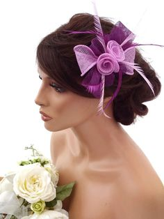Elegant Purple and lilac Mesh Bow Flower Hair Clip Grip Fascinator Feathers