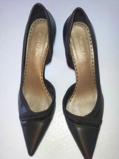 Gianni Bini Womens Sz 10 M Dark Brown Leather 3 Inch Heel Shoes = FREE Shipping