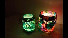 DIY Handmade colourful Lantern made from Glass Jar – Saint Martin Lanter... Mason Jar Lanterns, Mason Jar Lamp, Lantern Craft, How To Make Lanterns, Glass Jars, Handicraft, Home Crafts, Candle Holders, Candles