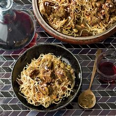 "Paula Wolfert learned a dish called chaariya medfouna from a private cook named Karima. ""Chaariya means noodles,"" Wolfert says. ""Medfoun means a surpr..."