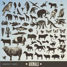 Винтажные силуэты животных в векторе | Stock Vector - Vintage Animals
