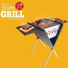 asador portatil parrilla slim grill carbon brasero compacto Portable Bbq Grill, Pizza Oven Outdoor, Stove Oven, Grill Design, Rocket Stoves, Cool Inventions, Ovens, Barbecue, Grilling