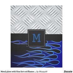 Metal plate with blue hot rod flames custom