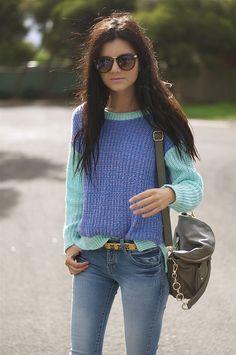 colour block jumper.