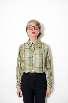 Vintage shirt / 70s green plaid long sleeve shirt /  by nemres, $29.00