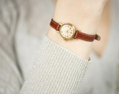 Mid century women's watch gold plated very small by SovietEra, $56.00