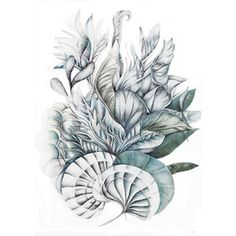 Sofie Børsting - Emerald Leaves - Limited Edition - A3 | Sofie Børsting - Klik for mere information