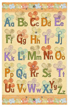 Alphabet Poster  Craft Paper and flowers  Room by ChildsTouch, $22.00