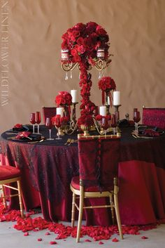 Iridescent Taffeta Merlot Linen | Wildflower Linens. Recreate this look with a cherry red linen, and a black scroll overlay! Black/white/red weddings are pretty popular right now!