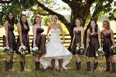 Would do the brown dresses with orange flowers and turquoise jewelry