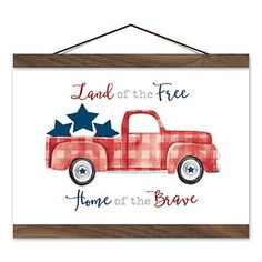 The American Plaid Truck Linen Hanging Wall Plaque will help you show off your patriotic pride! This print is perfect for switching out decor for seasons. Closed 4th Of July, Fourth Of July, Cricut Print And Cut, Red Truck Decor, Truck Signs, 4th Of July Decorations, July Crafts, Wooden Crafts, Wall Plaques
