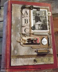 Altered book cover by Kaz Hall at The Little Shabby Shed.  Nice use of Tim Holtz Ideaology findings, Ranger Distress inks/stains, etc. more info at the blogsite.