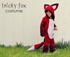 Little Fox costume: use a pair of footed pajamas for a pattern and a hood from a jacket. lurv the tail