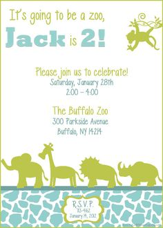 Zoo Birthday Party Invitation Printable  by mytwolittlelovebugs, Jack's birthday party invitations! Could be used for Jungle Birthday party also!