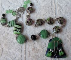 The Green Man Lampwork Necklace Fused Glass Focal    SRAJD | therodeorose - Jewelry on ArtFire