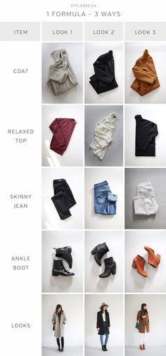 1 Formula - 3 Ways Style Bee - 1 Formula - 3 Ways Source by DBfirecracker. Minimalist Wardrobe, Minimalist Fashion, Skinny Jeans With Boots, Winter Typ, White Skinnies, London Look, Wide Brimmed Hats, Capsule Wardrobe, Wardrobe Ideas