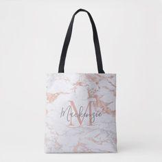 Elegant Rose Gold Foil | White Marble | Monogram Tote Bag Monogram Tote Bags, Personalized Tote Bags, Custom Tote Bags, Rose Gold Foil, Edge Design, White Marble, Reusable Tote Bags, Girly, Elegant
