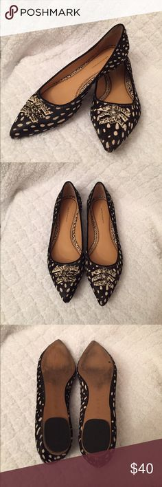 Anthropologie Skipperdee Flats, sz9 Pillco and the Letterpress black calf pointed flats in a spotted pattern. These are so fun to wear to work or dress up some jeans. Only worn a few times! Anthropologie Shoes Flats & Loafers