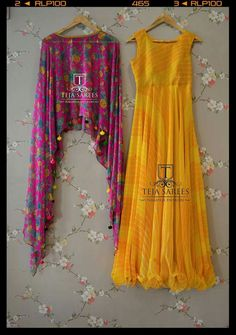 Poncho Anarkali/Gown in Bright Colours for Day Wear Indian Gowns, Indian Attire, Pakistani Dresses, Indian Wear, Indian Outfits, Indian Party Wear, Stylish Dresses, Casual Dresses, Fashion Dresses