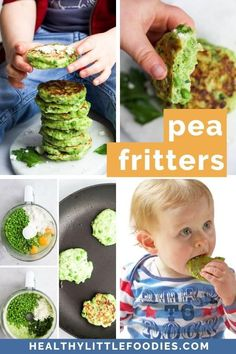 Pea fritters are a great first finger food for toddlers and baby led weaning. Delicious hot or cold, these kid friendly vegetable fritters are so versatile. Enjoy them for breakfast, pack them into the lunchbox, or make them part of a quick and easy lunch or dinner. #babyledweaning