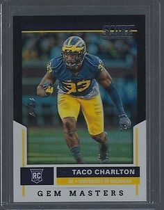 Other Sports Trading Cards 217: Taco Charlton 2017 Panini Score Gem Masters Black Michigan Rookie Rc 1 1 -> BUY IT NOW ONLY: $74.99 on eBay!