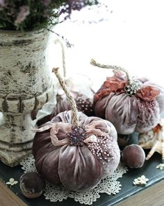 the pumpkin decoration ideas for Halloween seem fun and maintains the spirit of Halloween. Velvet Pumpkins, Fabric Pumpkins, Fall Pumpkins, Halloween Pumpkins, Fall Halloween, Halloween Crafts, Happy Halloween, Halloween Fabric, Pumpkin Crafts
