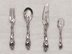 tim burton cutlery is isaie bloch Cutlery Set, Flatware, Silver Cutlery, Muebles Estilo Art Nouveau, Gothic House, 3d Prints, Or Antique, Tim Burton, Kitchen Gadgets