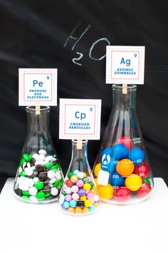 Creative idea with candy in beakers at a Mad Scientist party! See more party ideas at CatchMyParty.com! #partyideas #boybirthday