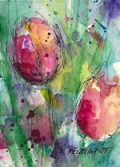 watercolor and ink on watercolor paper--an ATC gift for a friend (not available for trade) Art Aquarelle, Abstract Watercolor, Watercolor And Ink, Watercolour Painting, Watercolor Flowers, Watercolors, Painting & Drawing, Painting Inspiration, Flower Art