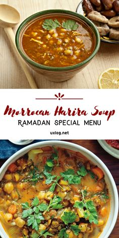 This delectable and healthy soup is a customary piece of Morocco's Ramadan iftar (breakfast) Healthy Soup Recipes, Veggie Recipes, Mexican Food Recipes, Vegetarian Recipes, Veggie Meals, Ramadan Special Recipes, Ramadan Recipes, Iftar, Harira Soup