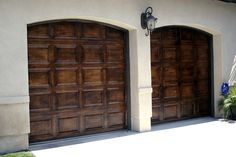 Faux Wood Painted Garage Doors. Upgrade your homes garage doors with faux wood paint.