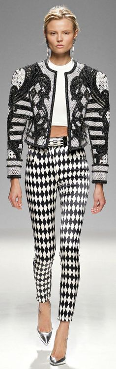 Balmain SPRING 2013 READY-TO-WEAR. THOSE PANTS WELL AND JACKET ARE AWEFUL!! THAT POOR MODEL!