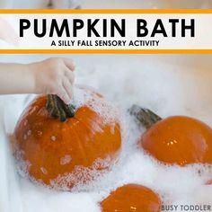 PUMPKIN BATH: A fun fall sensory activity washing pumpking; an easy indoor activity for toddlers