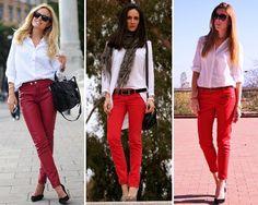 Combinación con pantalones rojos