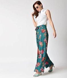 49cbb9d70e615 Retro Style Teal   Pink Floral Chiffon Wide Leg Pants