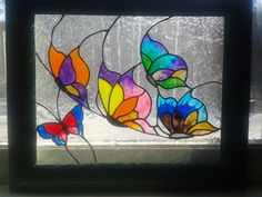 Butterfly glass art picture. 10x12 repurposed frame and glass. SOLD!!!