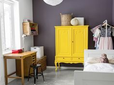repainted chest of drawers, yellow furniture Furniture Makeover, Home Furniture, Restoring Old Furniture, Yellow Cabinets, Painted Cupboards, Home Decoracion, Creation Deco, Cozy House, Painted Furniture