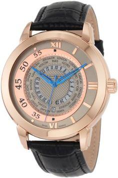 Stuhrling Original Men's 118B.334534 World Traveler Swiss-Quartz Silver Dial Watch