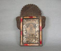 Large Antique Mexican Tin Nicho Nuestra Señora de by lolagodiva, $110.00