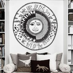 Crescent Sun And Moon Ethnic Sunshine Wall Decal Art Decor Sticker Vinyl    Size: 24in W x 25.6in H (61cm x 65cm)    Ideal for Walls,