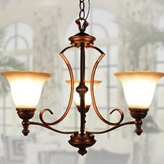 European-Style Elegant 3 Light Chandelier In Painting Processing – USD $ 199.99